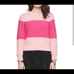 Kate Spade Knit Striped Pastry Pink Sweater SZ- L